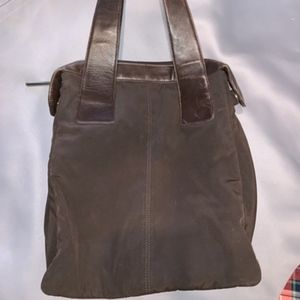 DKNY Shoulder Bag Brown Leather and Nylon Tote